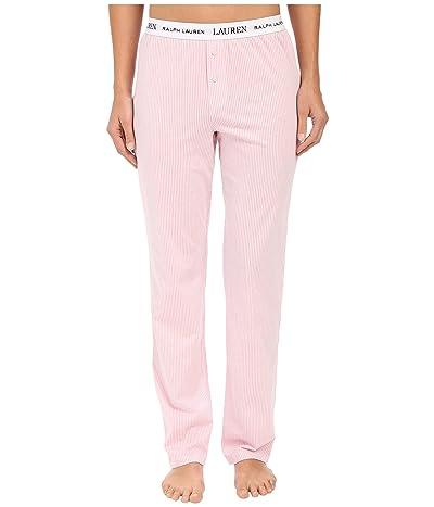 LAUREN Ralph Lauren Pants w/ Logo Elastic (Stripe Pale Pink/White) Women