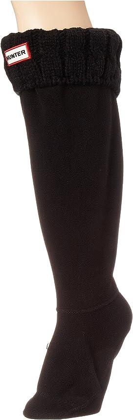 Hunter Cable Knit Dark Ion Pink Black Ladies Wellie Boot Socks M L 3 4 5 6 7 8