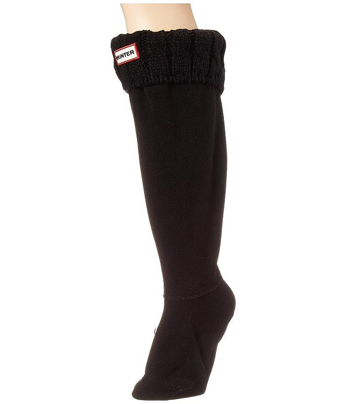 Hunter  6 Stitch Cable Boot Sock (Black) Womens Crew Cut Socks Shoes