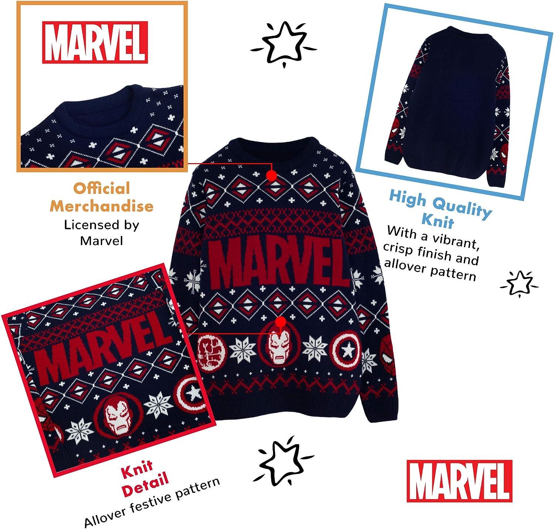Marvel Comics Eroe Icone Ragazzi Knitted Jumper Merchandise Ufficiale Natale Jumper Ugly Sweater Fair Isle di Natale Idee Regalo per Bambini Abbigliamento