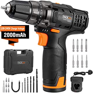"TACKLIFE 12V Cordless Drill Driver,3/8"" Metal Chuck,2 Speeds Compact Drill Set with.."