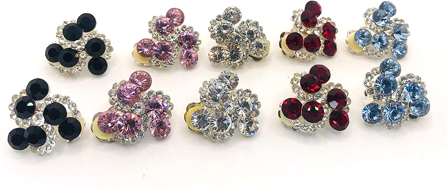 Cluster Gem Style Multicolor Evening Clip-On No Piercing Needed Earrings
