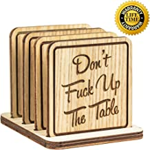 Navady Natural Wood Coasters with Holder Set of 4 (3.9 x 3.9 Inches), Table Wooden Coasters for Drinks, Protect Home Kitchen Tables, Office Desks, Perfect Housewarming Gifts (Funny Quote)