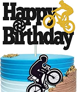 Bicycle Cake Topper Happy Birthday Bike Cake Decorations for Kids Boy Girl Sport Themed Bday Party Supplies Black Sparkle ...