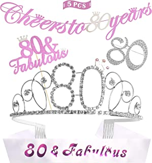 80th Birthday Decorations Party Supplies, Silver 80th Birthday Tiara, 80th Satin Sash 80 Fabulous, Silver Glittery Cheers To 80 Years Banner, 80th happy birthday tiara