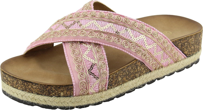 Cambridge Select Women's Open Toe Slip-On Crisscross Strappy Sequin Espadrille Flatform Slide Sandal