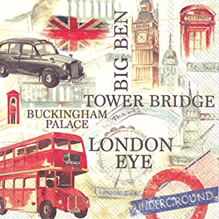 Celebrate the Home Vibrant 3-Ply Paper Cocktail Napkins, London Sightseeing, 20 Count