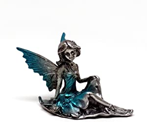 "Pixie Glare Pewter Fairy Figurine Collectible Statue. Small Hidden Cove Fairies (Light Blue 3""X2"")"