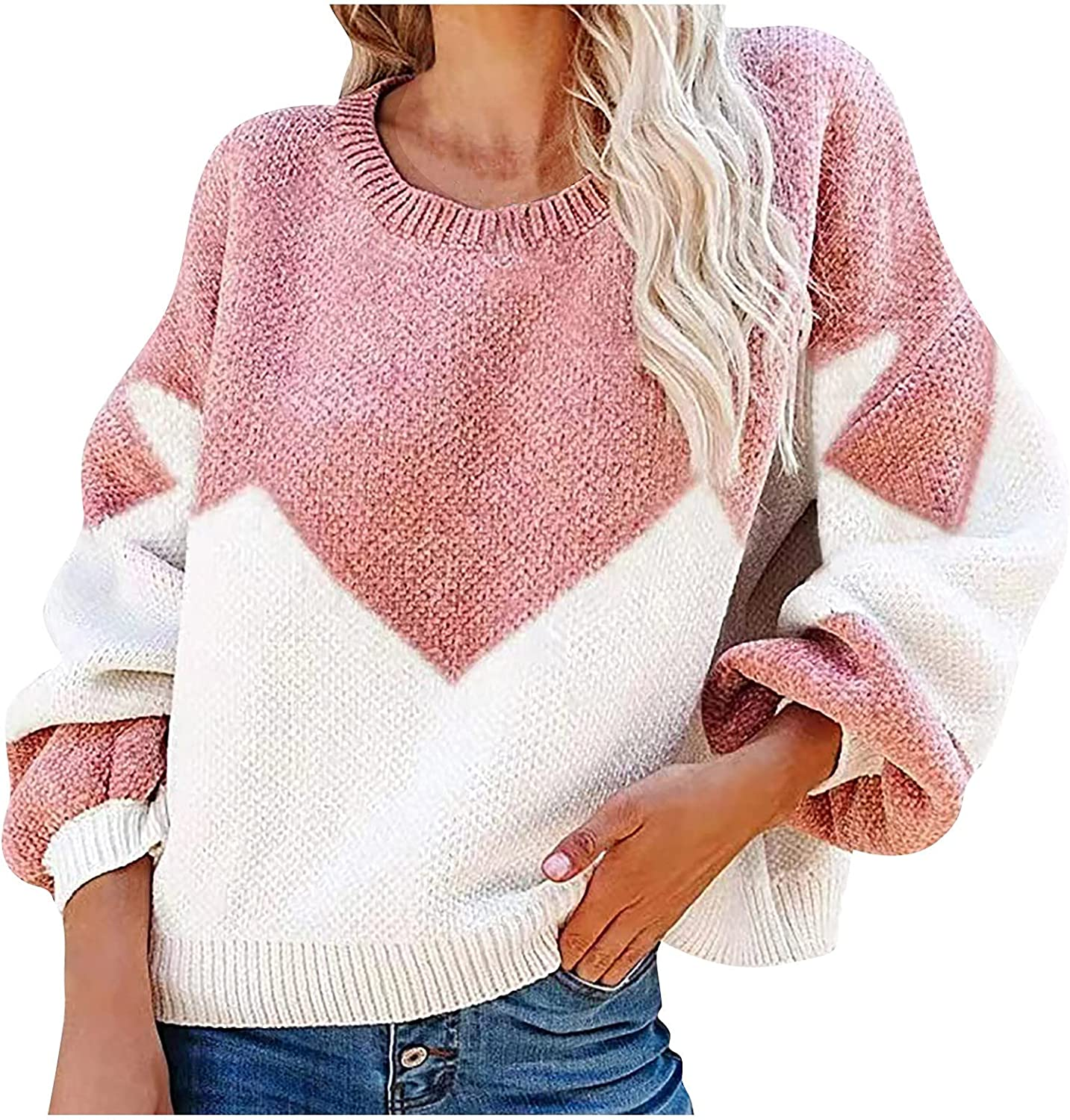 Women's Casual Loose Sweater Color Blocking Large Yards Round Neck Sweater