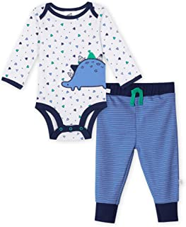 Just Born Baby Boys 2-Piece Organic Long Sleeve Onesies Bodysuit and Pant Set Toddler Layette, Lil