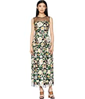 ML Monique Lhuillier - Floral Embroidery Cocktail Dress with Mesh Yoke
