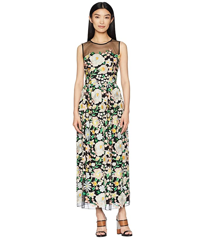 ML Monique Lhuillier Floral Embroidery Cocktail Dress with Mesh Yoke (Peony Garden) Women