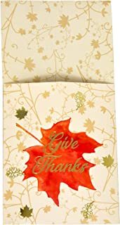 36 Thanksgiving Utensil Cutlery Holders Gold Foil with Give Thanks Maple Leaf Silverware Paper Pouch Pockets Harvest Autumn Table Place Settings Fall Tableware Party Supplies Decorations Gift Boutique