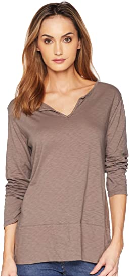 Vintage Split-Neck Long Sleeve Tee