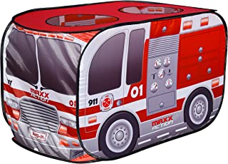 Sunny Days Entertainment Pop Up Fire Truck – Indoor Playhouse for Kids | Red Engine Toy Gift for Boys and Girls