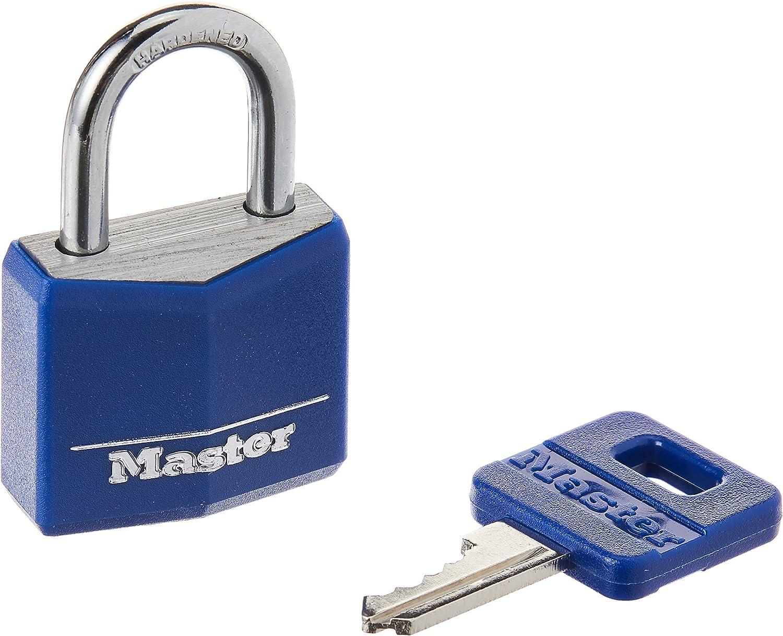 "Master Lock 1 3//16/"" Covered Brass Blue 1-Pack"