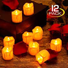zerproc Warm Yellow Candle Lights, LED Flameless LED Candle Lights with Battery Powered, Wax Dripped Tea Lights Candles for Valentine's Day, Wedding, Party, Home and Christmas Decor, 12 Pack