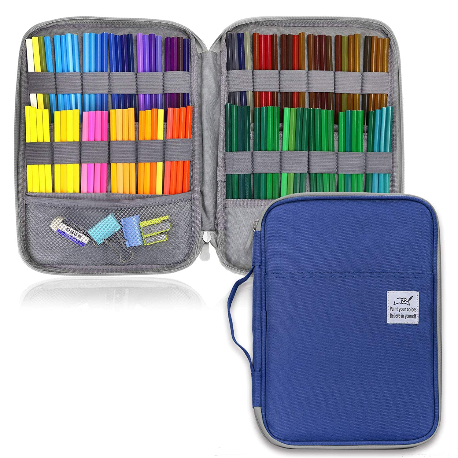 YOUSHARES 96 Slots Colored Pencil Case, Large Capacity Pencil Holder Pen Organizer Bag with Zipper for Prismacolor Watercolor Coloring Pencils, Gel Pens & Markers for Student & Artist (Blue)