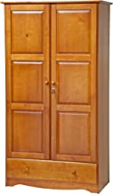 100% Solid Wood Universal Wardrobe/Armoire/Closet by Palace Imports, Honey Pine Color, 40