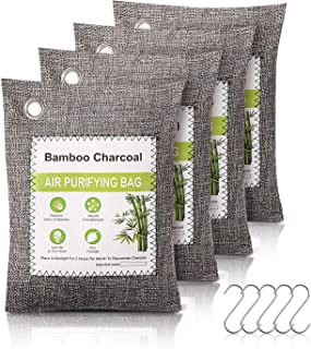 Bamboo Charcoal Air Purifying Bags 4pack,Charcoal Bags Odor Absorber,Closet Air Fresheners,Odor Eliminator for Home,Closet...