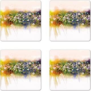 Ambesonne Flower Coaster Set of 4, Vogue Display Wisteria Violets Wreath Fragrant Plants Herbs Spring Season, Square Hardboard Gloss Coasters for Drinks, Multicolor