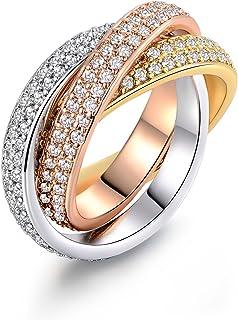 Barzel 18K Gold Plated Three-Tone & One Tone Swarovski Elements Crystal Rolling Rings