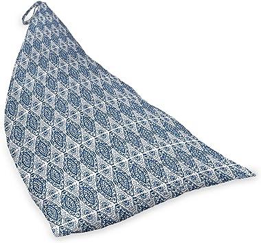 ABAKUHAUS Bleu et Blanc Jouet Sac de Rangement Chaise Lounge, Ikat Shibori Bohême, Stockage pour Animal en Peluche à Haute Ca