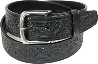 CTM Embossed Leather Money Belt with Removable Buckle