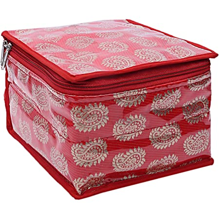 Kuber Industries Brocade Jewellery Box With 10 Pouch, Red