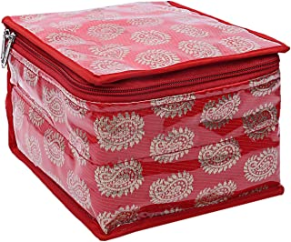 Kuber Industries Brocade Jewellery kit with Pouch (Red)