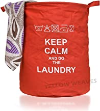 Yellow Weaves™ Laundry Bag/Basket for Dirty Clothes, Folding Round Laundry Bag - Red Color