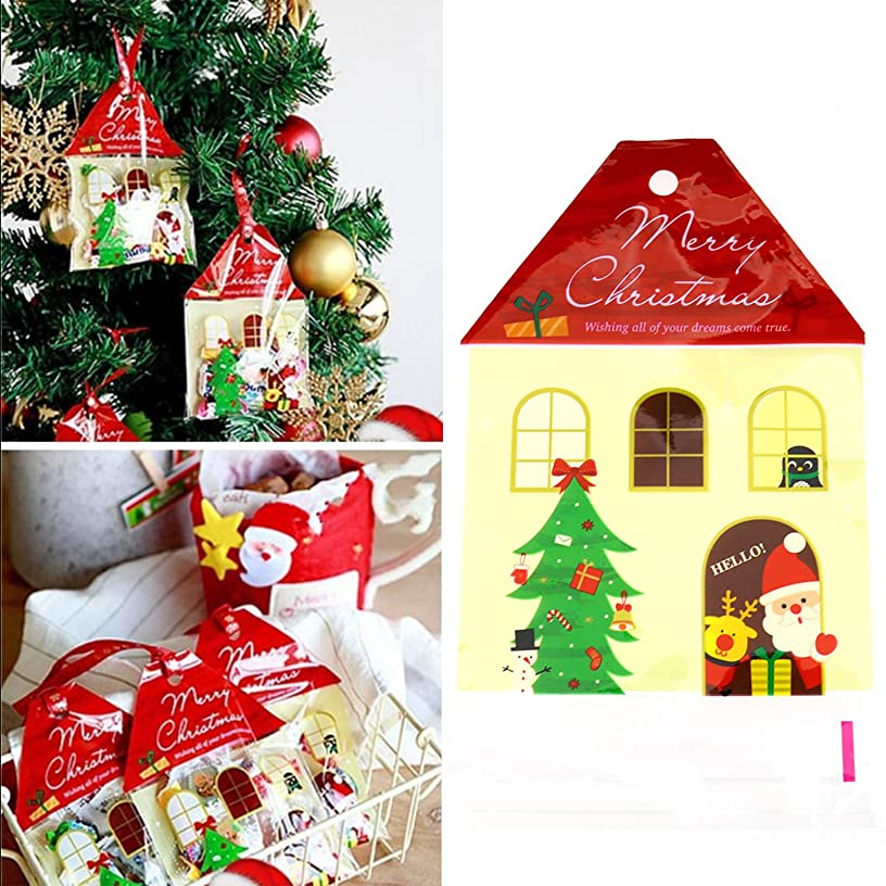 50pcs Christmas House Cello Cellophane Self-Adhesive Party Favour Sweet Cookie Candy Biscuit Gift Bags