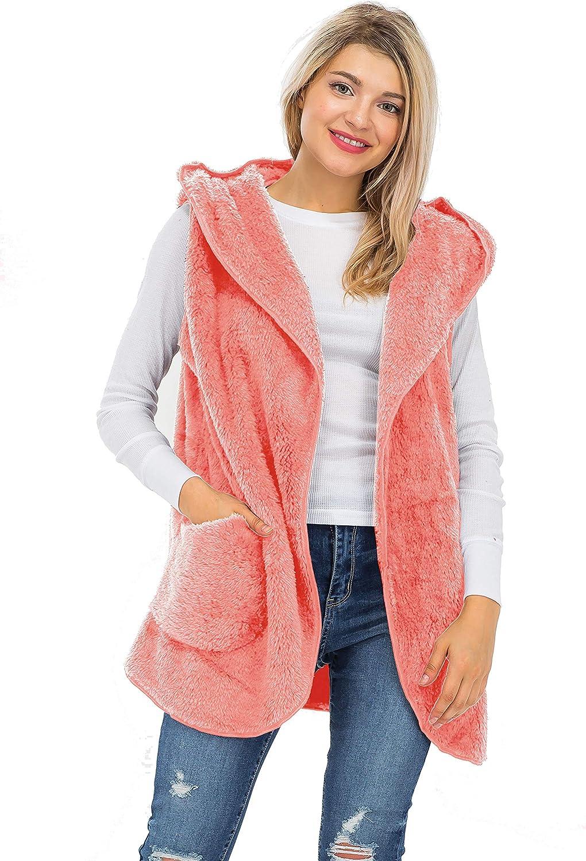 Women's Open Front Hooded Faux Fur Side Pockets Cocoon Slouchy Vest