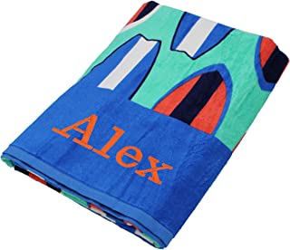 Personalized Beach Towels, Monogrammed Gifts for Kids, Her, Him, Custom Embroidered Towel (Surfboards)