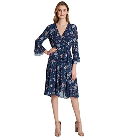 Tahari by ASL Petite Smocked Wrap Dress (Navy/Pink Lilac) Women