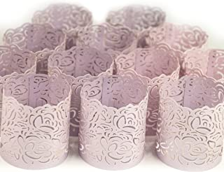Frux Home and Yard Votive Candle Holders - Flameless Tea Light Votive Wraps- 48 Blush Colored Laser Cut Decorative Wraps Flickering LED Battery Tealight Candles (not Included)
