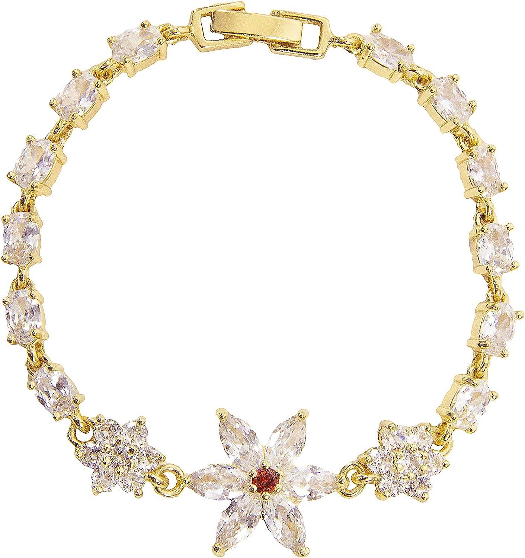Crystal star 18K gold plated bracelet for women and teengirls