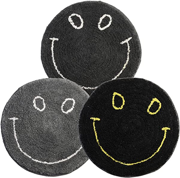 Dreaming Cotton 100 Percent Cotton Round Medium Sized Smiley Tufted Bath Rug Or Bath Mat Or Door Rug Set Of 3 Dark Colored