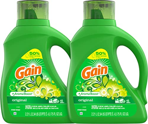 Gain Laundry Detergent Liquid Plus Aroma Boost, Original Scent, HE Compatible, 96 Loads Total, 75 Fl Oz (Pack of 2)