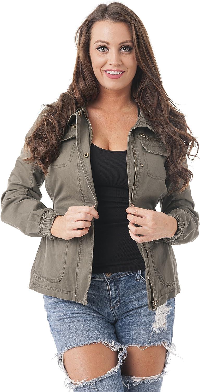 Khanomak Elastic Waist Long Sleeve Utility Military Coat Jacket