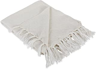 """DII Modern Cotton Geometric Blanket Throw with Fringe For For Chair, Couch, Picnic, Camping, Beach, Everyday Use, 50 x 60"""" - Hexagon Beige, White"""