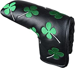 Sword &Shield sports White Green Shamrock Lucky Clover Putter Head Cover Four Leaf Clover Headcover for Scotty Cameron Ping Odyssey Taylormade