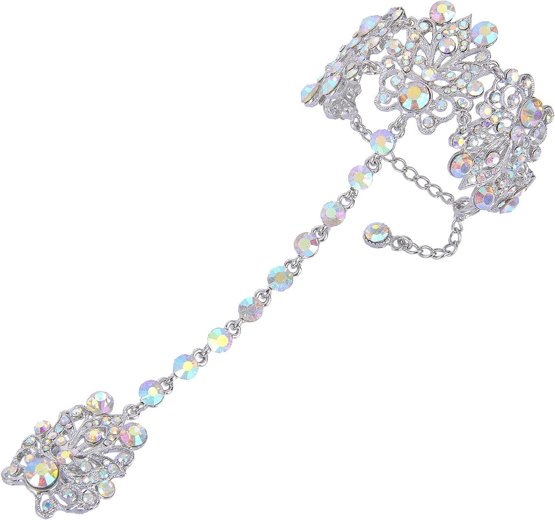 EVER FAITH Women's Iridescent Clear AB Austrian Crystal 1920s Vintage Style Wedding Prom Bracelet Adjustable Ring Set