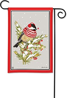 BreezeArt Studio M Winter Chickadee Garden Flag - Premium Quality, 12.5 x 18 Inches