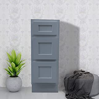 Vanity Art 12 Inch Single Bathroom Vanity Base Cabinet | Solid Wood Gray Finish Perfect Small Bathroom Storage Cabinet with Soft-Closing Drawers - VA4012-3G