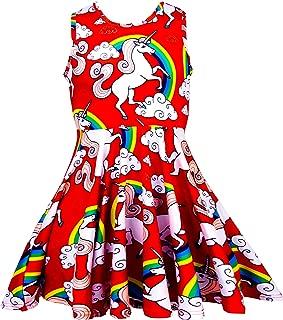 Girls Sleeveless Unicorn Dress Red and Rainbow Kids Sundress