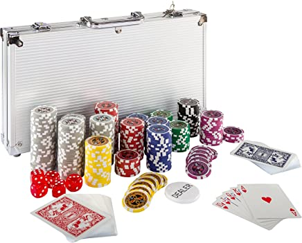 Maxstore Ultimate Pokerset mit 300 hochwertigen 12 Gramm METALLKERN Laserchips, inkl. 2X Pokerdecks, Alu Pokerkoffer, 5X Würfel, 1 x Dealer Button, Poker, Set, Pokerchips, Koffer, Jetons