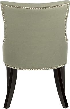 Safavieh Mercer Collection Christine Grey Linen Nailhead Dining Chair, Set of 2