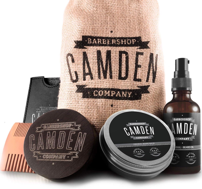 CAMDEN Kit para el cuidado de la barba ● Set de regalo hombre que incluye un aceite, un bálsamo, un cepillo y un peine para la barba
