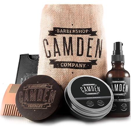 Kit para el cuidado de la barba ● 100% natural ● Hecho en Europa ● Incluye aceite, bálsamo, cepillo y peine para barba ● Set de regalo hombre de Camden Barbershop Company